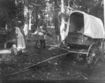1913 wagon trip, camp near Deadwood Prairie on return trip, shows kitchen area and wagon